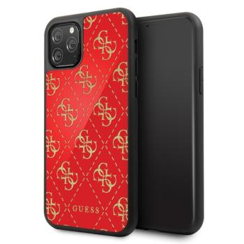 GUESS 4G Double Layer Glitter Hard Case Hülle für iPhone 11 Pro Rot, schwarz