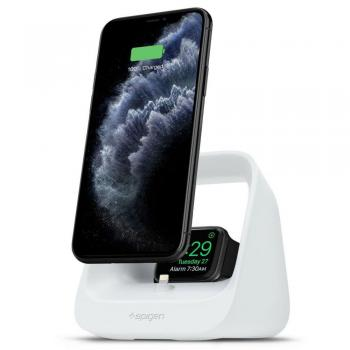 Spigen S316 2in1 Ladestation für iPhone / Pods / Apple Watch (1-6) Weiss